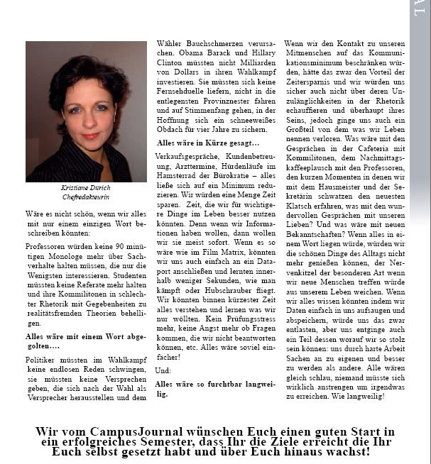 Editorial des Chemnitzer Campusjournals